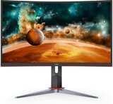 "AOC  CQ27G2 27"" Super Curved Frameless Gaming Monitor QHD 2K, 1500R Curved VA, 1ms, 144Hz, FreeSync, Height adjustable, 3-Year Zero Dead Pixel Guarantee"