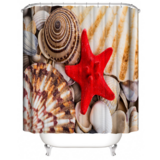 DEALS FOR LESS - Water Proof Shower Curtain, Red Starfish Design
