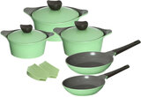 Neoflam Aeni Cookware Set Of 10Pcs -  Apple Green