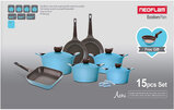 Neoflam Aeni Cookware Set Of 15 Pcs- Cyan- With Gift