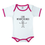 Baby Body Suit With Pink Trim, Print: I Heart My Daddy This Much. Size: 6-12 Months