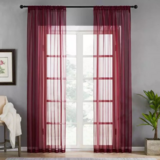 Deals For Less - Window Sheer , Maroon  Color Set Of 2 Pieces.