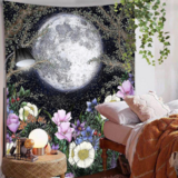 Deals For Less - Wall Tapestry Home Decor, Moon & Floral  Design.