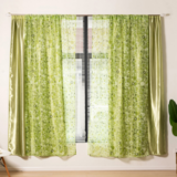 Deals For Less Modern Drape Tulle,  Double Layer Window Curtains Set Of 2 Pieces, Green Color