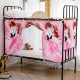 Deals For Less -Bed Curtain For Lower Deck Single Bed, Cute Couple Design Pink Color
