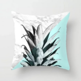 Deals For Less - White & Blue Pineapple Marble Design Cushion Cover.