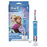Oral B D100 Vitality Rechargeable Kids Toothbrush Frozen Blue/Pink/White
