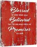 Blessed is She Who Has Believed Quote Motivational - Framed - Canvas Print Home Decor Wall Art, Gallery Wrap Inner Frame, White, 14x18