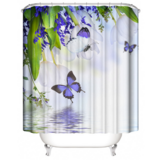 DEALS FOR LESS - Water Proof Shower Curtain, Purple Butterfly Design.
