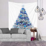 Deals For Less - Wall Tapestry Home Decor, White & Blue Christmas Tree Design.