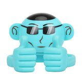 Promate Bluetooth Speaker, Portable Monkey Shape Multifunction Wireless Speaker with 3.5mm Audio for Tablets, Cell Phones - Blue
