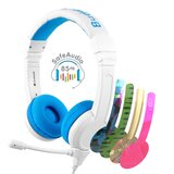BuddyPhones - School Plus Kids Headphones - High Performance Beam Mic, Detachable BuddyCable for Sharing, Foldable & Cushioned Headband (Blue)