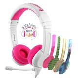 BuddyPhones - School Plus Kids Headphones - High Performance Beam Mic, Detachable BuddyCable for Sharing, Foldable & Cushioned Headband (Pink)