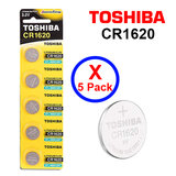 Toshiba CR1620 3V Lithium Coin Cell Battery fIVE Pack of 5 batteries