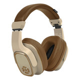 Promate Wireless Headphone with Speaker, 2-in-1 High Definition Bluetooth v5.0 Headphone with Built-in 6W Speaker, Mic,12H Playtime -  Brown