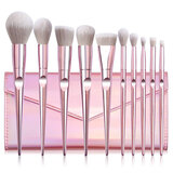 O Ozone Professional Makeup Brush Set 10pcs Kit with PU Pouch Premium Synthetic Powder Foundation Eyeshadow Blush Lip Brush Tool [Durable, Unique, Stylish]