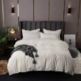 Deals For Less - King Size, Duvet Cover, Bedding Set Of 6 Pieces, Plain Cream Color, 1 Duvet Cover + 1 Fitted Bedsheet + 4 Pillow Covers.