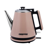 Geepas GK38012 2 Layer Electric Kettle 1.2L 1360W - Stainless Steel, Cordless Water Tea Kettle 1.2L with Double Wall, Auto Shut-Off & Boil-Dry Protection, No Plastic Contact with Water | 2 Years Warranty