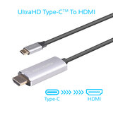 Promate USB-C to HDMI Cable, Premium USB Type-C, 4K 60Hz HDMI Cable Adapter for MacBook Pro, Chromebook Pixel, Samsung S9, S8, Note 8, HDLink-60H.Grey