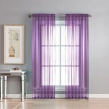 Deals For Less - Window Sheer, Light Purple Color  Set Of 2 Pieces.