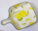 LEMON HAND PAINTED  CERAMIC PLATE WITH HANDLE