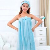 DEALS FOR LESS - Super Absorbent Wrap Body Towel, with lady Headband set, blue color.