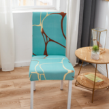 DEALS FOR LESS - 1 Piece Strechable Dining Chair cover Blue Marble Design.