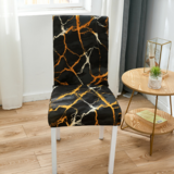 DEALS FOR LESS - 1 Piece Strechable Dining Chair cover, Dining room chair slipcover, Black Marble  Design.