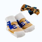 Socks and bow tie set for new born - brown and blue