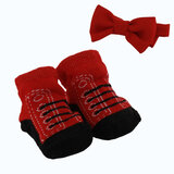 Socks and bow tie set for new born - black and red