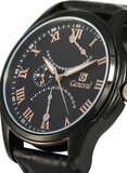 Geneval of Switzerland Men's Black Dial Leather Band Watch - GL1617BRBB
