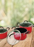 Cyber 6-Piece Aluminum Ceramic Cookware Set Cycw-9801 Black/Red/Clear