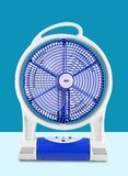 Cyber 12-Inch Electric Rechargeable Oscillating Fan With LED Lamp CYFL-7735 White/Blue