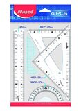 Maped 4-Piece Geometry Ruler Set Clear