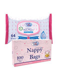 Cool & Cool Nappy Bags 100S And Baby Wipes 64S Pack, Set Of 1, V1341