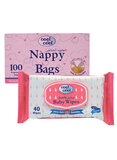 Cool & Cool Nappy Bags 100S And Baby Wipes 40S Pack, Set Of 1, V1343
