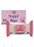 Cool & Cool Nappy Bags 100S And Baby Wipes 80S Pack, Set Of 1