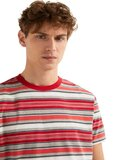 Springfield Stripe Knitted T-shirt Red/Coral/Grey