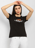 Red Tape  Round Neck Printed T Shirt for Women - Black