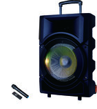 Olsenmark Rechargeable Party Trolley Speaker with USB, SD Card, FM, Mic, Bluetooth & Remote - LED Light Ball & Tweeter and Cover with Lights - One Guitar Input - Karaoke Function - 40000 PMPO   2 Years Warranty