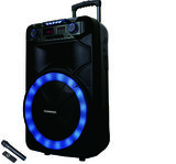 Olsenmark Party Speaker with USB, SD Card, FM, Aux-in   Remote Control   One Wireless Microphone   5 Band Equalizer   LED Lights   Flashing Disco Lights & Strobe, TWS   2 Years Warranty