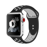 Promate Silicone Sport Band, Breathable Two-Toned Perforated Replacement Strap w/Double Pin for Apple Watch Series 42mm/44mm S/M- Oreo-42SM - Blk/W