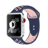 Promate Silicone Sport Band, Breathable Two-Toned Perforated Replacement Strap w/ Pin-Tuck for Apple Watch Series 42mm/44mm M/L/S, Oreo-42ML Blue Pink