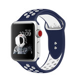 Promate Silicone Sport Band, Breathable Two-Toned Perforated Replacement Strap w/ Double Pin for Apple Watch SR: 42mm/44mm S/M Size, Oreo-42SM Blu-Wht