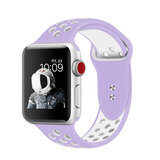 Promate Silicone Sport Band, Breathable Two-Toned Perforated Replacement Strap w/Double Pin  for Apple Watch Series 42mm/44mm S/M- Oreo-42ML Purple