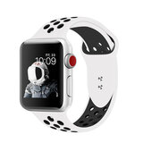 Promate Silicone Sport Band, Breathable Two-Toned Perforated Replacement Strap w/Double Pin for Apple Watch SR: 42mm/44mm S/M Size, Oreo-42SM Blk-Wht