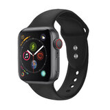 Promate Silicone Apple Watch 38mm/40mm Strap, Adjustable Silicone Sport Strap w/Dual Lock Pin for Apple Watch SR:1,2,3 and 4 M/L Size- OUtdoor- Black