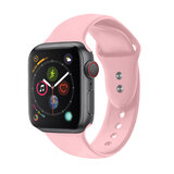 Promate Sport Silicone Apple Watch 42mm/44mm Strap, Durable Sweatproof Silicone Replacement Wrist Strap for Apple Watch SR: 1,2,3 and 4 S/M size -Pink