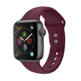 Promate Silicone Apple Watch 38mm/40mm Strap, Adjustable Silicone Sport Strap & Dual Lock Pin for Apple Watch SR:1,2,3 and 4 M/LSize - Outdoor -Maroon