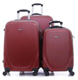Para John 3 Pcs Travel Luggage Suitcase -  Trolley Bag, Carry On Hand Cabin Luggage Bag - (20'' 24'' 28'') -Red